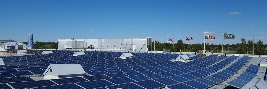 One of Kesko´s solar utilities on the roof of K-citymarket Tammisto, near Helsinki, Finland. Image: Kesko