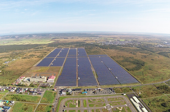 An aerial view of a 21.7 MW array that Sparx owns in Kushiro, northern Japan