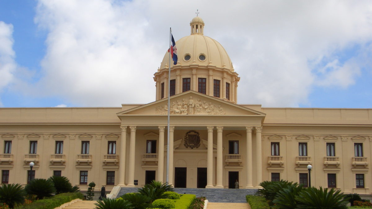 The National Palace houses the offices of the executive branch  of the Dominican Republic